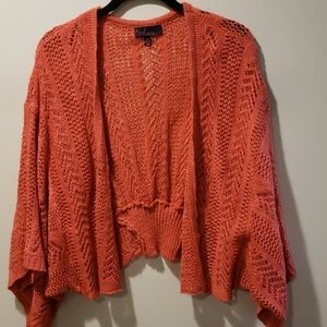 Beautiful Coral Crochet Cardigan-Size XL